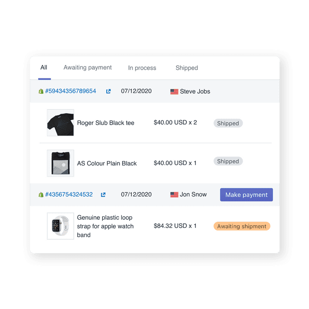 Order management for dropshipping
